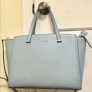 kate spade lt. blue lg leather bag pre-owned